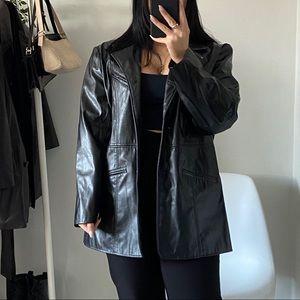 VINTAGE Black Faux Leather Longline Jacket